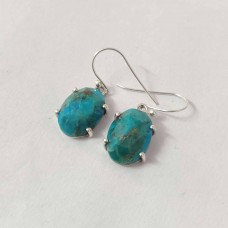 Natural Turquoise Oval Silver Prong Dangle Earrings